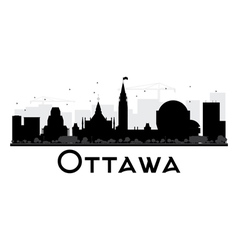 Ottawa city skyline black and white silhouette vector