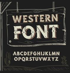 Retro western font alphabet on dark vector