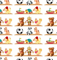 Seamless toys on shelf vector image