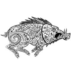 Stylized wild boar razorback warthog hog pig vector image vector image