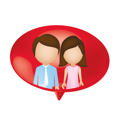 Couple together inside chat bubble vector