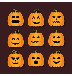 Halloween pumpkins flat icons set vector image