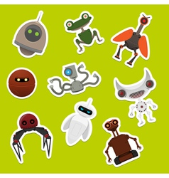 Stickers with robots vector image vector image