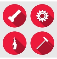 Tool icon set Cogwheel hammer wrench key bolt vector image vector image