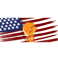 usa america independence hand fist in with flag vector image vector image