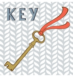 Vintage key with ribbon vector image vector image