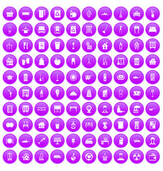 100 cleaning icons set purple vector image