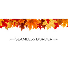 autumn seamless border with falling autumn leaves vector image