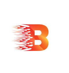 B fire creative alphabet logo design concept vector