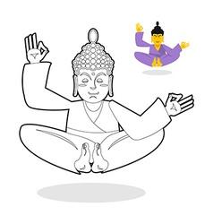 Buddha coloring book Buddha meditating Indian god vector