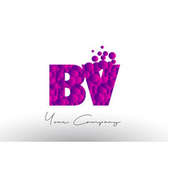bv b v dots letter logo with purple bubbles vector image