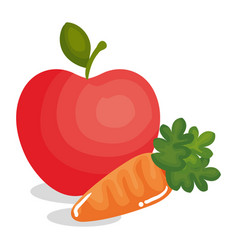 Carrot vegetable with apple vector