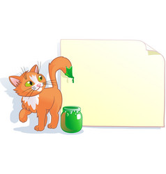 Cartoon cat wrote with paint on a sheet of vector