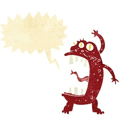 Cartoon crazy monster with speech bubble vector