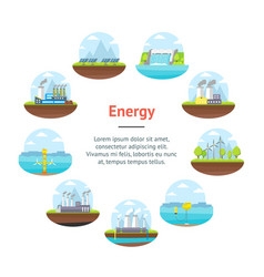 cartoon energy generation banner card circle vector image