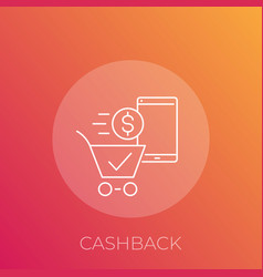 Cashback line icon vector