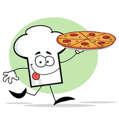Chef Hat Guy Holding A Pizza vector image