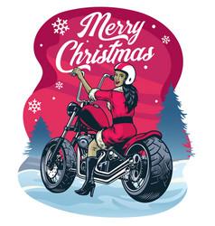 Christmas greeting women in santa claus costume vector