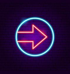 Circle arrow neon sign vector