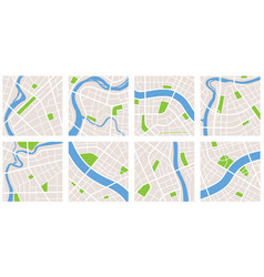 city navigation map pattern gps style set eight vector image