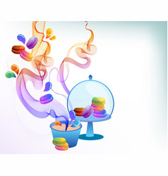 Colorful french macaron cookies with drops and vector