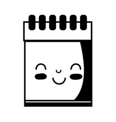 Contour kawaii cute happy notebook tool vector