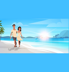 Couple in love man woman embracing on tropical vector
