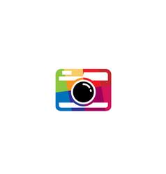 creative colorful abstract camera logo design vector image