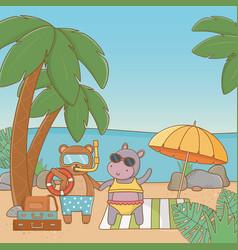 Cute animals enjoying summer vacations vector