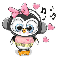 Cute cartoon penguin girl with headphones vector