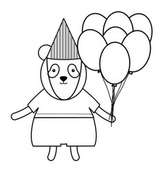 Cute polar bear with balloon helium in party vector