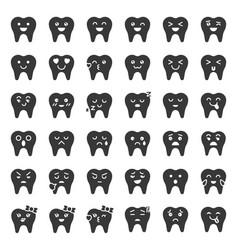 cute tooth cartoon emoticon set solid style vector image