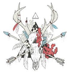 deer skull totem vector image