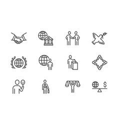 Diplomacy flat line icons set global politics vector