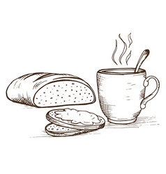 doodle loaf and cup with hot coffee vector image