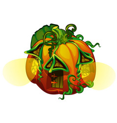 fairy house in form ripe pumpkin with glowing vector image