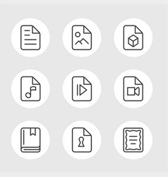 File formats line icons vector