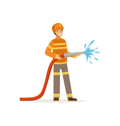 Fireman character holding hose extinguishing fire vector