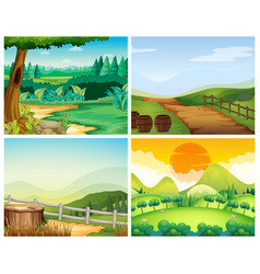 Four scenes of countryside vector
