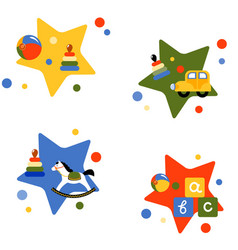 four with childrens toys vector image