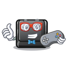 Gamer button e in mascot shape vector
