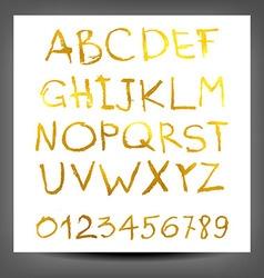 gold hand drawn alphabet pattern vector image