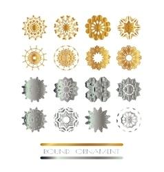 Golden silver mandala set vector image