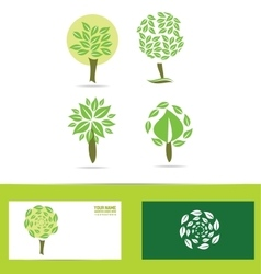 Green tree logo icon set vector image