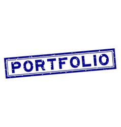 Grunge blue portfolio word square rubber seal vector