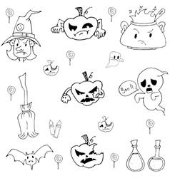 Halloween pumpkins ghost candy doodle set vector image