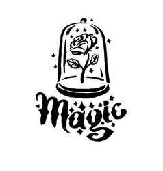 Hand drawn witch and magic item rose in a vector