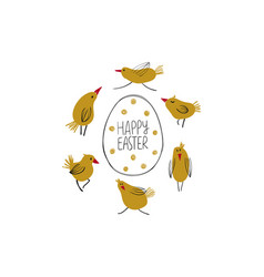 Happy easter greeting card with egg and chicks vector
