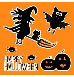 Happy Halloween set Witch pumpkins bat spiders vector image