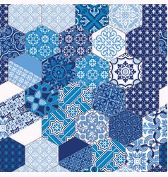 hexagonal azulejos blue tiles mosaic vector image